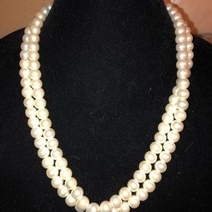 22 inch long faux pearls